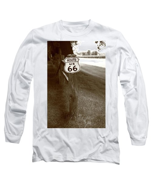 Long Sleeve T-Shirt featuring the photograph Route 66 Shield And Fence Sepia Post by Frank Romeo
