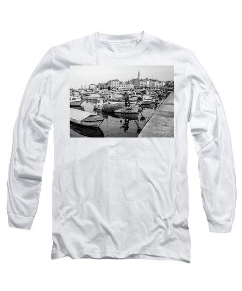 Rovinj Fisherman Working In Old Town Harbor - Rovinj, Istria, Croatia Long Sleeve T-Shirt