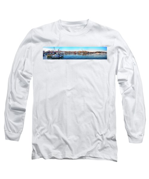 Rovinj Harbor And Boats Panorama Long Sleeve T-Shirt