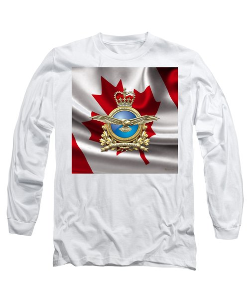 Royal Canadian Air Force Badge Over Waving Flag Long Sleeve T-Shirt by Serge Averbukh