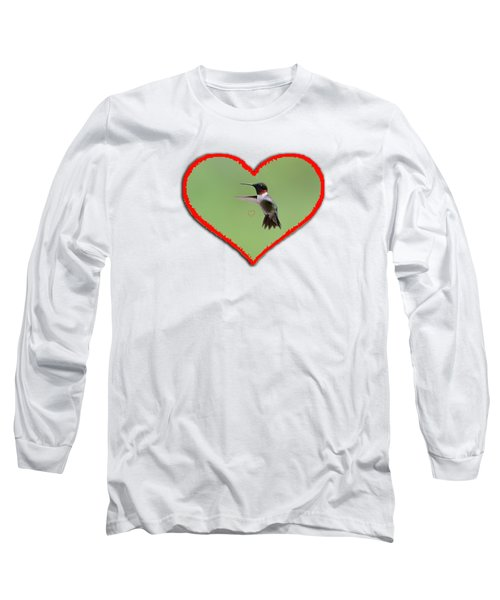 Ruby-throated Hummingbird In Heart Long Sleeve T-Shirt by Dan Friend