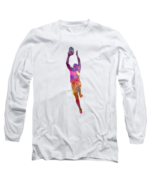 Rugby Man Player 03 In Watercolor Long Sleeve T-Shirt