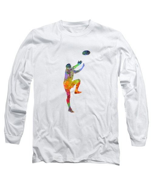Rugby Man Player 05 In Watercolor Long Sleeve T-Shirt