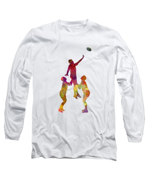 Rugby Men Players 01 In Watercolor Long Sleeve T-Shirt
