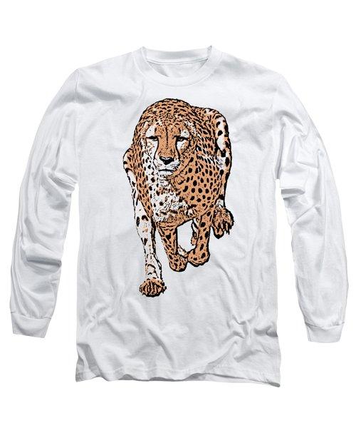 Running Cheetah Cartoonized #2 Long Sleeve T-Shirt