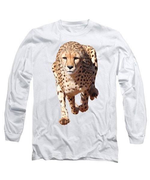 Running Cheetah, Transparent Background Long Sleeve T-Shirt