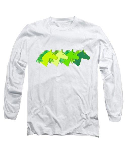 Running Horse Lime Long Sleeve T-Shirt by Alexsan