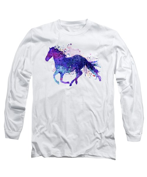 Running Horse Watercolor Silhouette Long Sleeve T-Shirt
