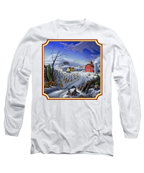 Rural Winter Country Farm Life Landscape - Square Format Long Sleeve T-Shirt