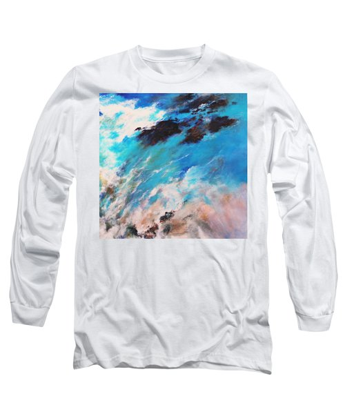 Long Sleeve T-Shirt featuring the painting Rushing Water by M Diane Bonaparte