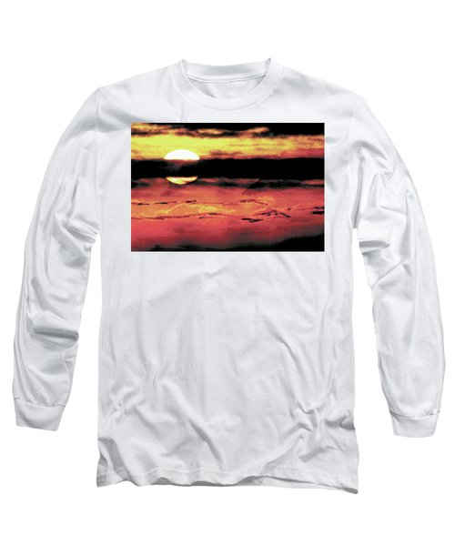 Long Sleeve T-Shirt featuring the painting Russet Sunset by Paula Ayers