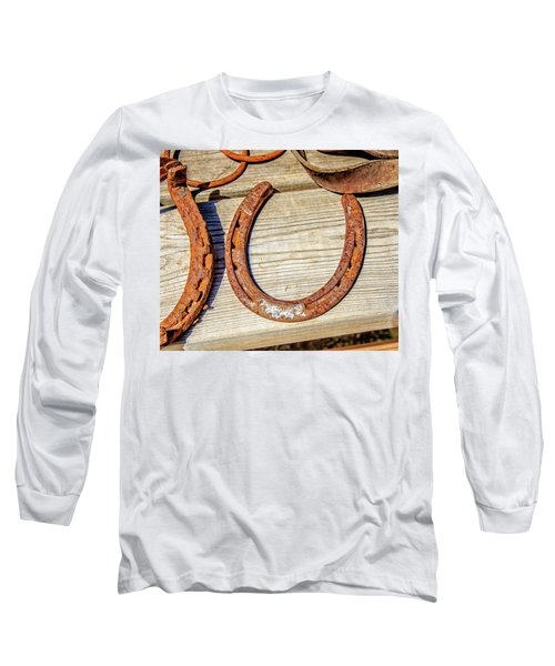 Rusty Horseshoes Found By Curators Of The Ghost Town Of St. Elmo Long Sleeve T-Shirt by Peter Ciro