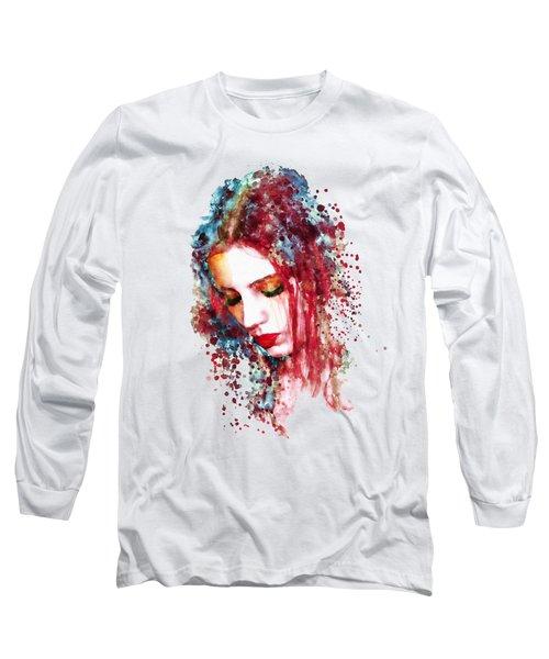 Sad Woman Long Sleeve T-Shirt by Marian Voicu