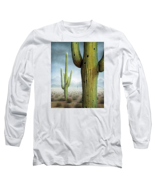 Saguaro Cactus Landscape Long Sleeve T-Shirt by James Larkin