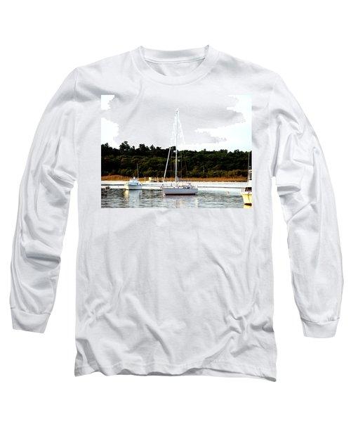 Sail Boat At Anchor  Long Sleeve T-Shirt