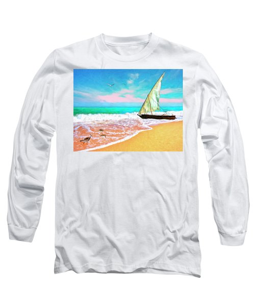 Sail Boat On The Shore Long Sleeve T-Shirt