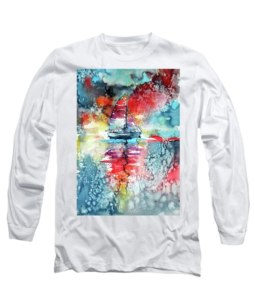 Sailboat At The Sinshine Long Sleeve T-Shirt by Kovacs Anna Brigitta