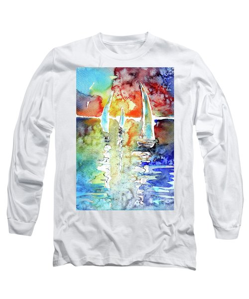 Sailboats In Light Long Sleeve T-Shirt by Kovacs Anna Brigitta