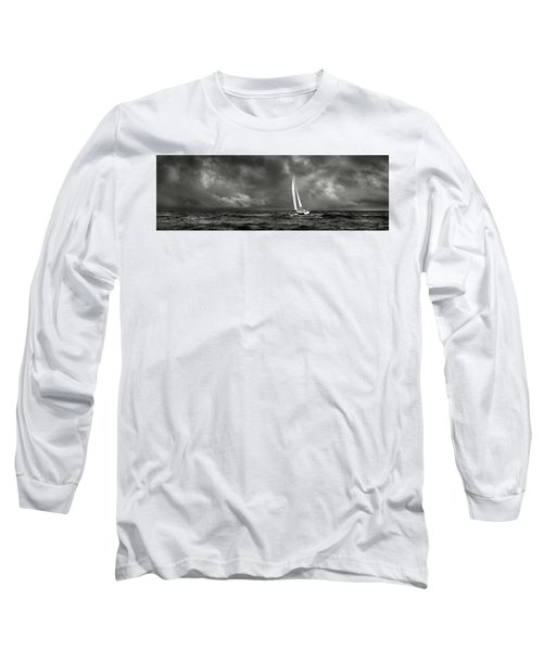 Sailing The Wine Dark Sea In Black And White Long Sleeve T-Shirt