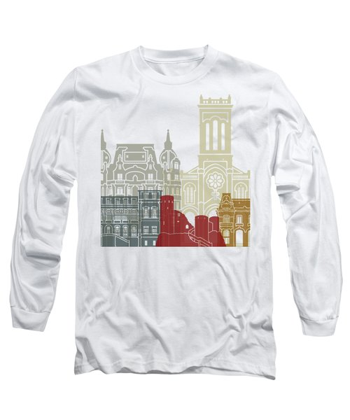 Saint Etienne Skyline Poster Long Sleeve T-Shirt by Pablo Romero