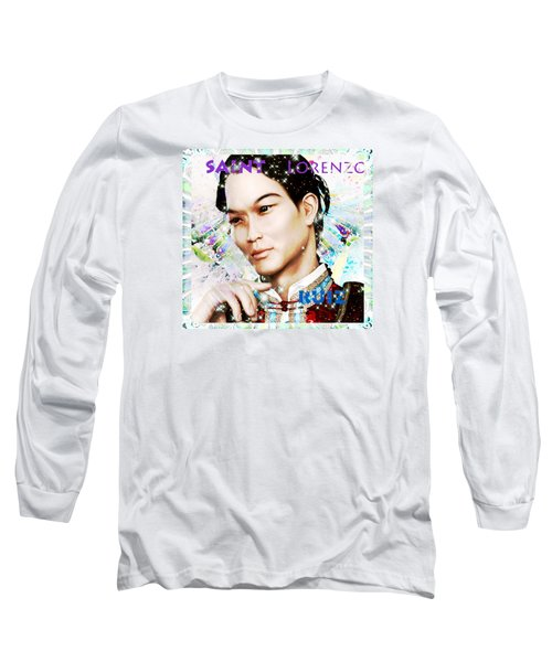 Long Sleeve T-Shirt featuring the painting Saint Lorenzo Ruiz Of The Philippines by Suzanne Silvir