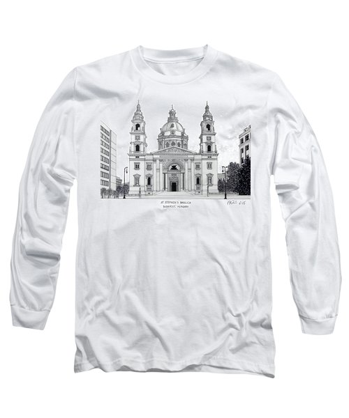 Long Sleeve T-Shirt featuring the drawing Saint Stephens Basilica by Frederic Kohli