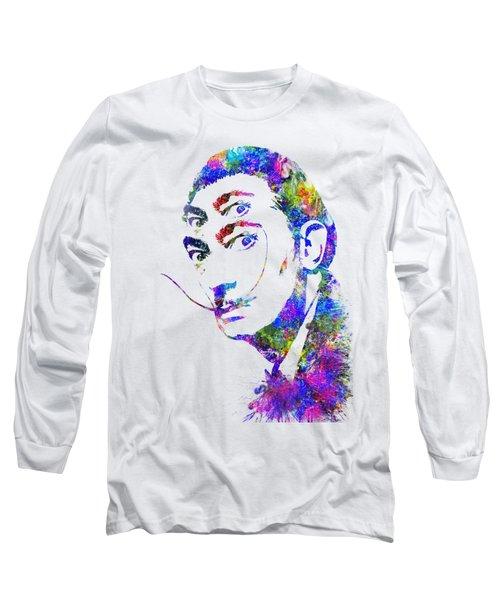 Salvador Dali Watercolor Digital Portrait Optic Illusion 2 Long Sleeve T-Shirt