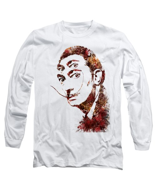 Salvador Dali Watercolor Digital Portrait Optic Illusion Fall Colors Long Sleeve T-Shirt by Georgeta Blanaru
