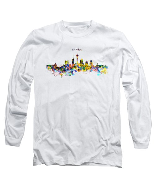 San Antonio Skyline Silhouette Long Sleeve T-Shirt by Marian Voicu