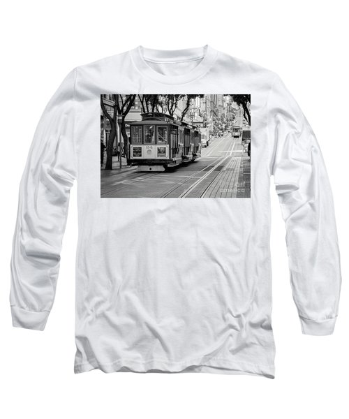San Francisco Cable Cars Long Sleeve T-Shirt by Eddie Yerkish