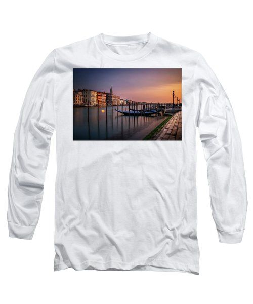 San Marco Campanile With Gondolas At Grand Canal During Calm Sunrise, Venice, Italy, Europe. Long Sleeve T-Shirt