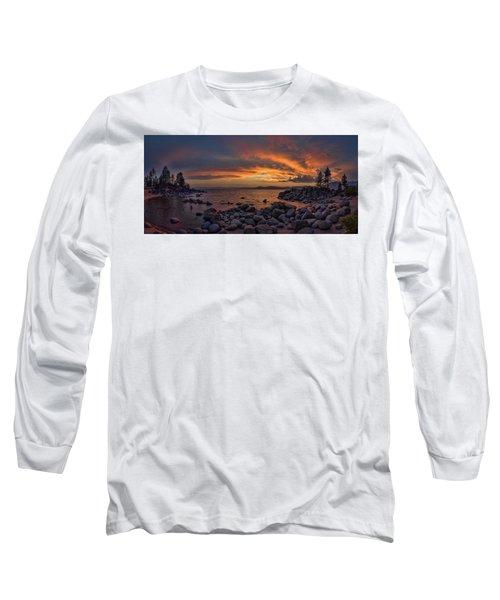 Sand Harbor Sunset Panorama Long Sleeve T-Shirt