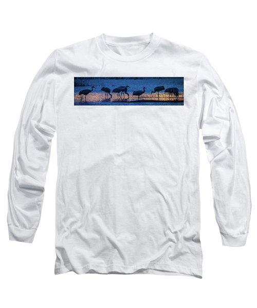 Sandhill Cranes At Twilight Long Sleeve T-Shirt