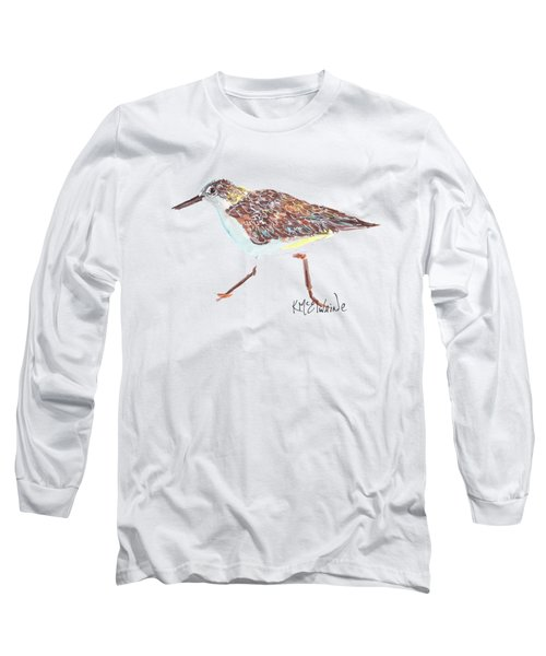 Sandpiper Bird Long Sleeve T-Shirt by Kathleen McElwaine