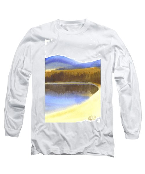 Long Sleeve T-Shirt featuring the painting Sandy Blue Dusky Mountain Lake by Kip DeVore