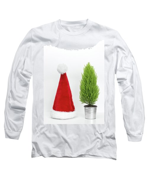 Santa Hat And Little Christmas Tree Long Sleeve T-Shirt