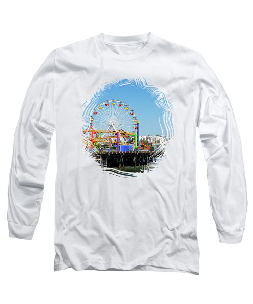Santa Monica Ferris Wheel Long Sleeve T-Shirt by Stefanie Juliette