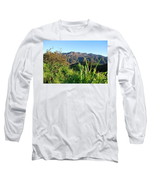 Santa Monica Mountains Green Landscape Long Sleeve T-Shirt