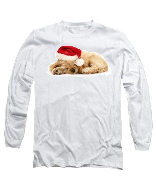 Santa's Sleepy Spaniel Long Sleeve T-Shirt