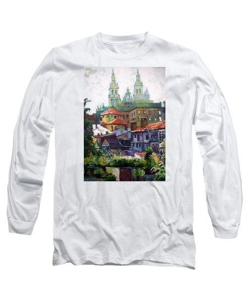 Long Sleeve T-Shirt featuring the painting Santiago  Spain by Paul Weerasekera