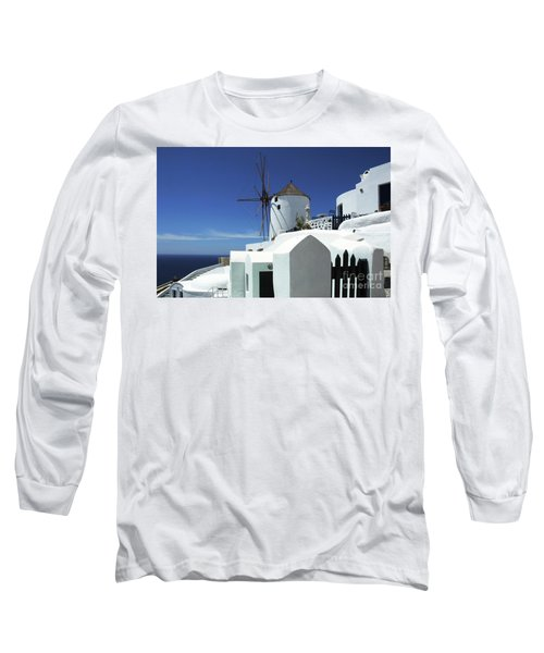 Santorini Greece Architectual Line 5 Long Sleeve T-Shirt by Bob Christopher