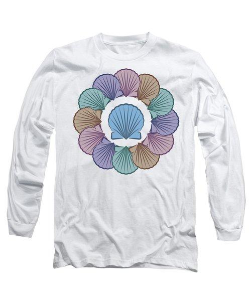 Scallop Shells Circle Multi Color Long Sleeve T-Shirt