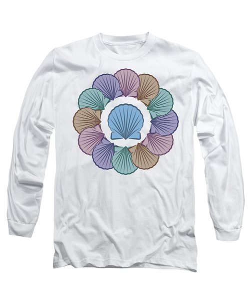 Scallop Shells Circle Multi Color Long Sleeve T-Shirt