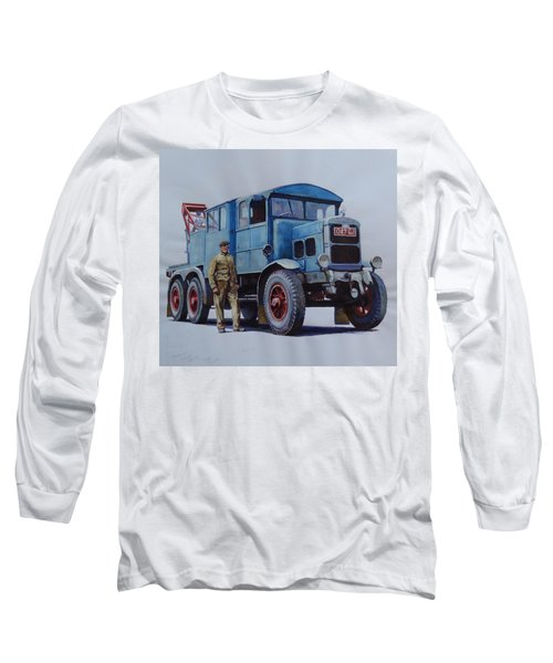 Long Sleeve T-Shirt featuring the painting Scammell Wrecker. by Mike Jeffries