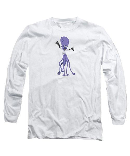 Scary Purple Alien Long Sleeve T-Shirt