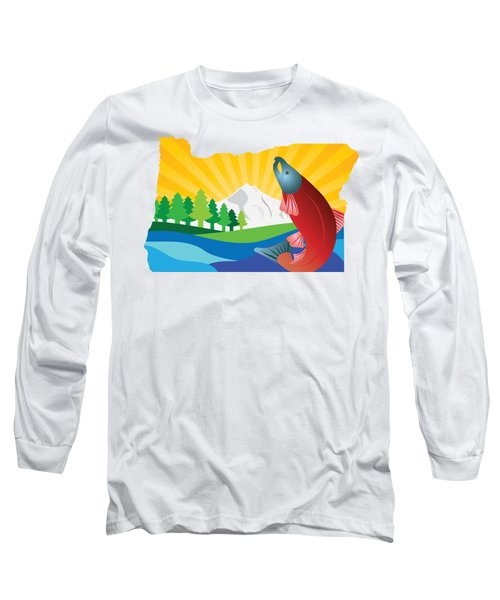 Scenic State Of Oregon Map Long Sleeve T-Shirt by Jit Lim