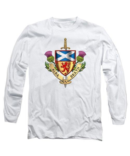 Scotland Forever - Alba Gu Brath - Symbols Of Scotland Over White Leather Long Sleeve T-Shirt
