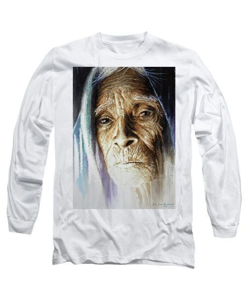 Long Sleeve T-Shirt featuring the painting Scripts Of Ancestral Light  by J- J- Espinoza