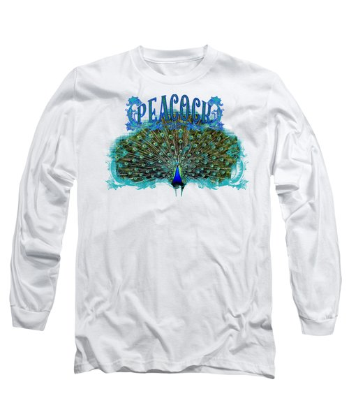 Scroll Swirl Art Deco Nouveau Peacock W Tail Feathers Spread Long Sleeve T-Shirt by Audrey Jeanne Roberts