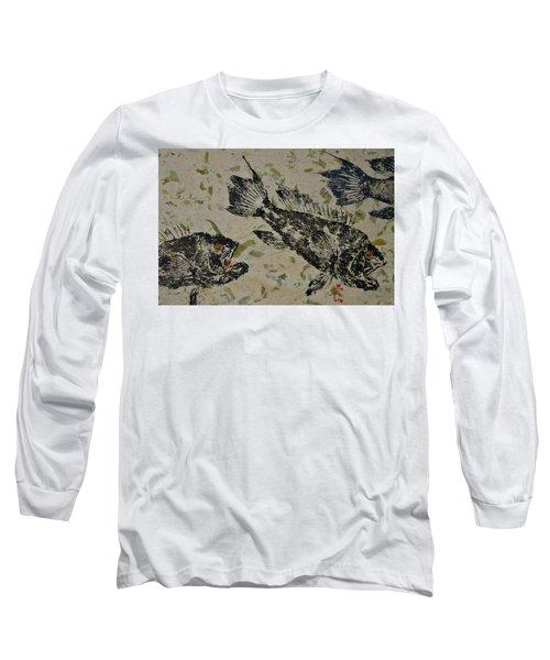 Sea Bass School On Olive Mango Paper  Long Sleeve T-Shirt